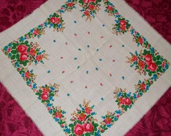 Vintage Ukrainian Shawl Winter Scarf Floral Shawl White Shawl Boho Wedding Shawl Chale Russe vintage Shawl Russian Style Shawl Glamour Shawl