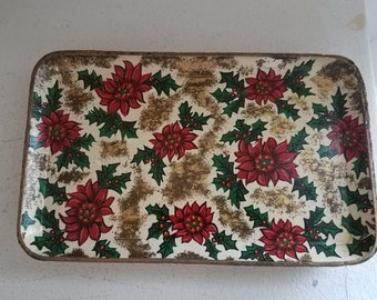 Vintage 1940s Four (4) Drink Poinsetta Trays