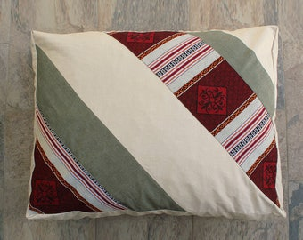 Dog Bed Cover-Cream Corduroy-Burgundy Striped-Bohemian dog bed covers- Pet Bed Covers-Box style covers