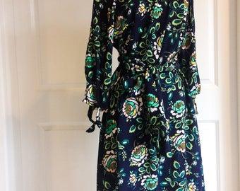 Womens Floral Dress - Open Sleeve Dress - peekaboo sleeves - Flowy Dress - Easter Dress - Womens Easter Dress - Green Floral Dress - dress