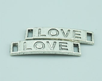 30pcs 29x7mm Antique Silver Love Charm Pendants,Love Connectors,Letter Charms Pendants Connectors Z6753A