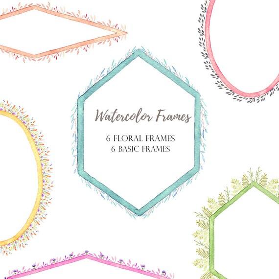 watercolor frames, geometric floral frames, invitations frames, diy ...