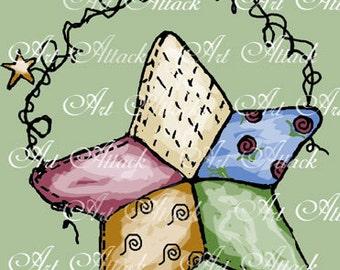 Quilted Cuties Star Digital Stamp Set,   digital art download