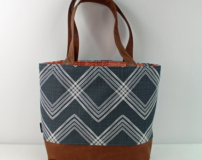 Lulu Large Tote Bag Colton Navy and PU Leather READY to SHIP