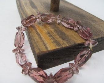 Pink Bead Bracelet - Vintage Jewelry For Women, Stretchable Bracelet