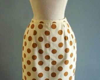 1960s polka dot pencil skirt. xs petite