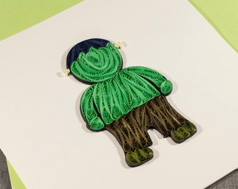 3D Handmade Halloween Card Blank Quilled Frankenstein Quilling Halloween Card