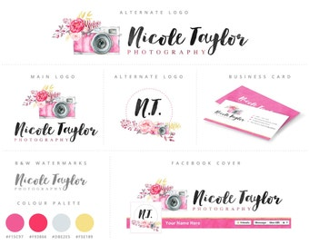 Branding Kit, Watercolor Floral Camera,Photography Logo and Watermark, Premade Marketing Package n001