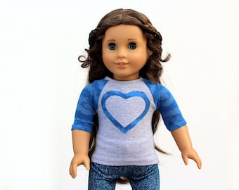 Fits like American Girl Doll Clothes - Burnout Cobalt Blue and Gray Heart Raglan Tee | 18 Inch Doll Clothes