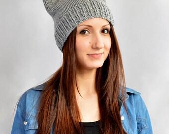 Cat Hat Womens Hat Cat Ear Beanie Cat Ears Bonnet Femme Bonnet Chat Ear Hat Strickmütze Katze Ears Beanie Knit Hat Mütze Katze Knit Beanie