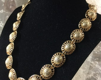 Etruscan Style Coin Sized Gold Tone Link Necklace Signed Made in Korea Tarnished Rustic Looking Foldover Clasp Weighty