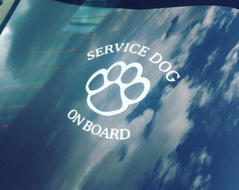 Service Dog On Board Decal