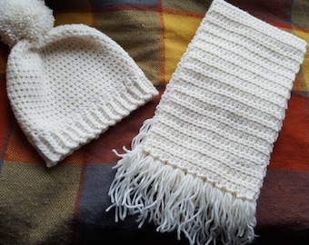 Crochet aran hat and scarf set.