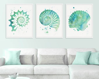 Amazing Seashell Wall Art, Watercolor Seashell, Nautical Wall Art, Nautical Decor, Beach  Wall