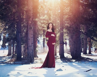 Wine Silhouette Gown, Maternity Gown, Silhouette Gown, Holiday Gown, Wedding Gown, Photo Prop