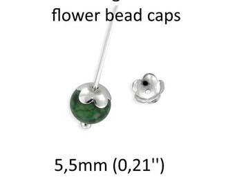 20 pcs sterling silver flower Bead caps for pearls, corals 925 earring beads ear stud jewelry diy findings