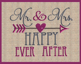 Mr and Mrs Happy Ever after Embroidery Design with Arrow embellishments Mr and Mrs Wedding Embroidery Design