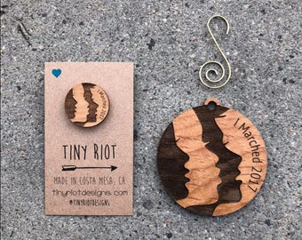Women's March on Washington 2017 Wooden Ornament and Pin set
