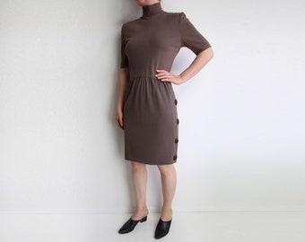 VINTAGE Dress 1980s Mock Neck Dress Tortoise Brown Shortsleeve Small