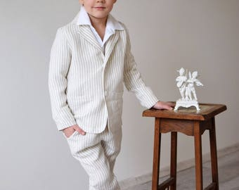 Boys suit Ring bearer outfit Boys blazer and pants set Boys linen jacket Boys clothes Baptism outfit Boys jacket Family photo Great Gatsby