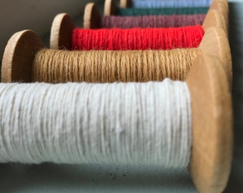 6 Blonde Wood Colorful Thread Spools - Primitive 3 Inch Wooden Bobbins - Set of 6 Rustic Decor