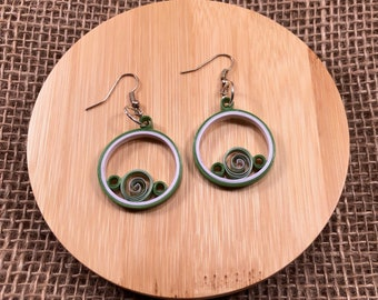 Green and Lilac Spiral Paper Quilled Earrings