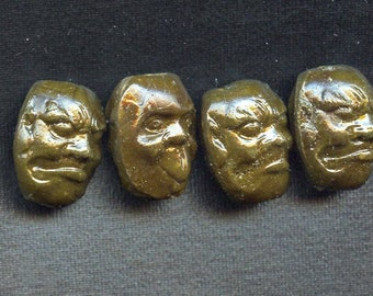Vintage 1920's Composition Face Beads