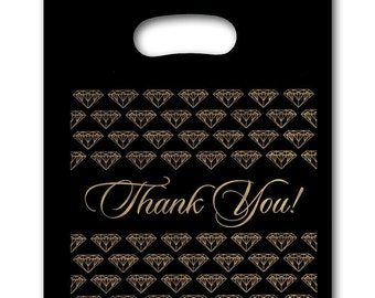 NEW 100/PLASTIC BLACK jewelry Thank You gift Bag (med)