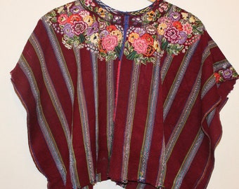 Beautiful Vintage Huipil Poncho from Patzun, red floral ethnic, Mayan Guatemalan textile, poncho, shawl