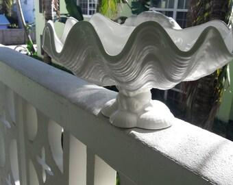 SHELLEBRATE GOOD TIMES...Come on ! Fabulous True White Glazed Ceramic Shell Centerpiece / Server / Planter