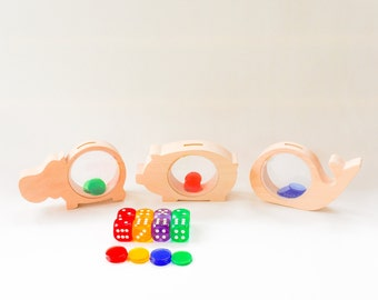 Busy Bags Activity - See-through Piggy Banks Montessori inspired Toddler Game Preschool Learning Toy Homeschool Game 36M Up Gift for Age 3