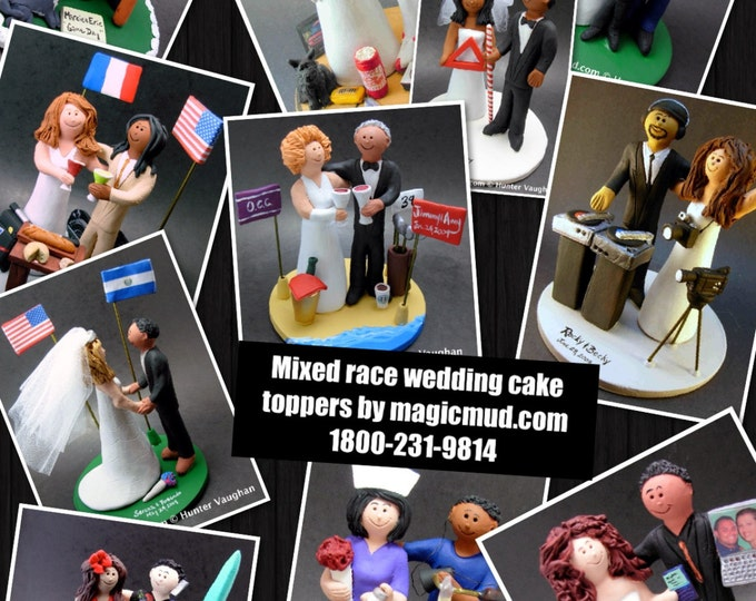 Custom Made to Order Biracial Wedding Cake Toppers, Wedding Anniversary Gift for Mixed Race Couple, BiRacial Wedding Anniversary Gift.