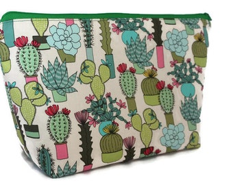 Extra Large Cosmetic Bag - Toiletry Bag - Travel Bag - Makeup Bag - Wet Bag - Accessory Pouch - Succulents