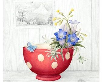 Botanical Art Alpine Flowers Giclée Print 'With Love'