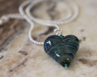 beautiful blue and green swirled heart pendant, handmade lampwork, glass bead