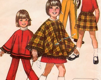 Vintage 70's Sewing Pattern Simplicity 9531 Jiffy Skirt Pants Poncho Size 2 Complete
