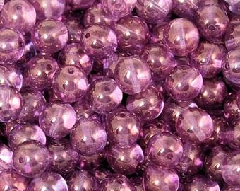 Czech Glass 8mm Translucent  Round Luminous Amethyst Druk Beads -25 Czech Beads