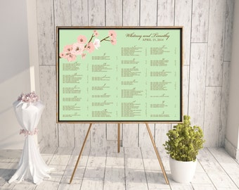 Wedding Seating Chart (Cherry Blossoms) - Digital File, DIY, PDF, Printable, Cherry Blossoms, Flowers, Floral, Spring, Summer, Mint, Pink