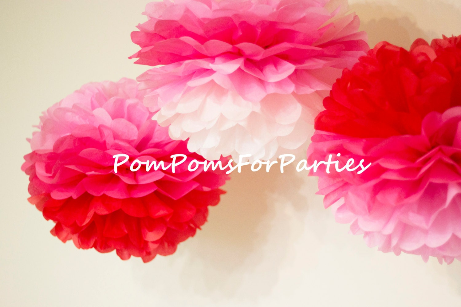 Pack Of 3 Ombre Red To Pink Pom Poms More Sheets For Fullest