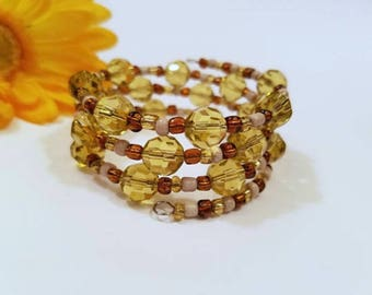 Memory Wire Bracelet, Autumn Colors Fall Colors Copper Beige Yellow Beaded Bracelet Stack Coils Bangle, Adjustable Bracelet Easy On Easy Off
