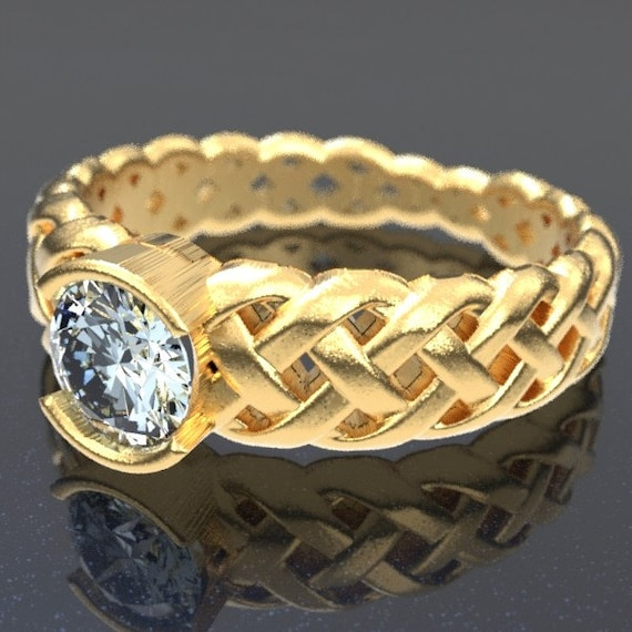 Gold Celtic Moissanite Engagement Ring With Braided Cut-Through Knotwork Design in 10K 14K 18K or Palladium, Made in Your Size Cr-760