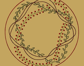 MACHINE EMBROIDERY-Prim Vine Candle Mat-8-Inch-Colorwork-Instant Download