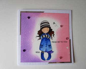 Gorjuss from me to you card. Girl in blue coat. Any occasion card. Hand stamped card.