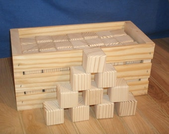 """50 unfinished wood blocks,wood baby blocks 1  1/2"""" square with storage crate,craft blocks, baby shower activity"""