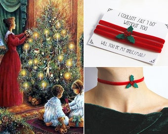 Mistletoe Necklace, Christmas Choker, Red Velvet Necklace, Will you be my Bridesmaid Proposal, Stocking stuffer, Victorian Choker, Holly
