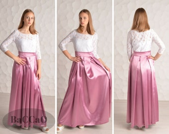 Long Dusty Pink Bridesmaid Dress Dusty  pink dress with sleeves Dusty rose lace dress A-line bridesmaid dress For you wedding Pink dresses