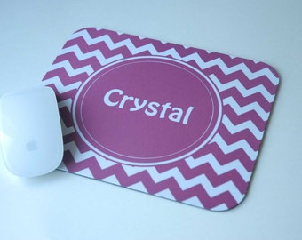 Personalized Mouse Pad for Computer Desk, Purple Chevron + Monogram, Coworker Gift, Administrative Professionals Day Gifts, Assistant Gifts
