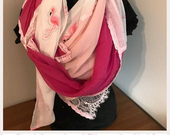 scarf pink veil and white Flamingo Pink