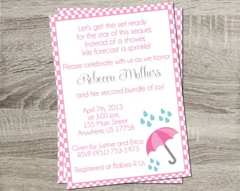 Printable Baby Shower Sprinkle Invitation - Baby Pink Checkered Background with Pink Umbrella 5x7 Invitation