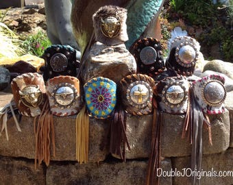 "SALE****Southwestern Hair on Hide 3 1/2"" Wide Leather Fringe Cuffs, with Large Concho's.."